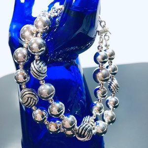 NRT Silver Tone Two Strand Beaded Bracelet